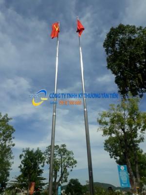 Thi công cột cờ inox cao 8m